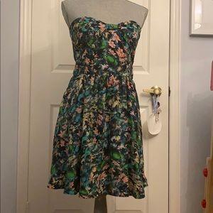 Zara Woman Strapless Floral Dress